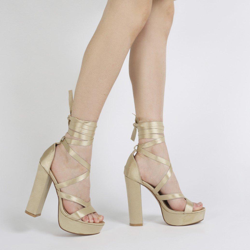 public desire stella lace up heels in champagne satin lyst. Black Bedroom Furniture Sets. Home Design Ideas