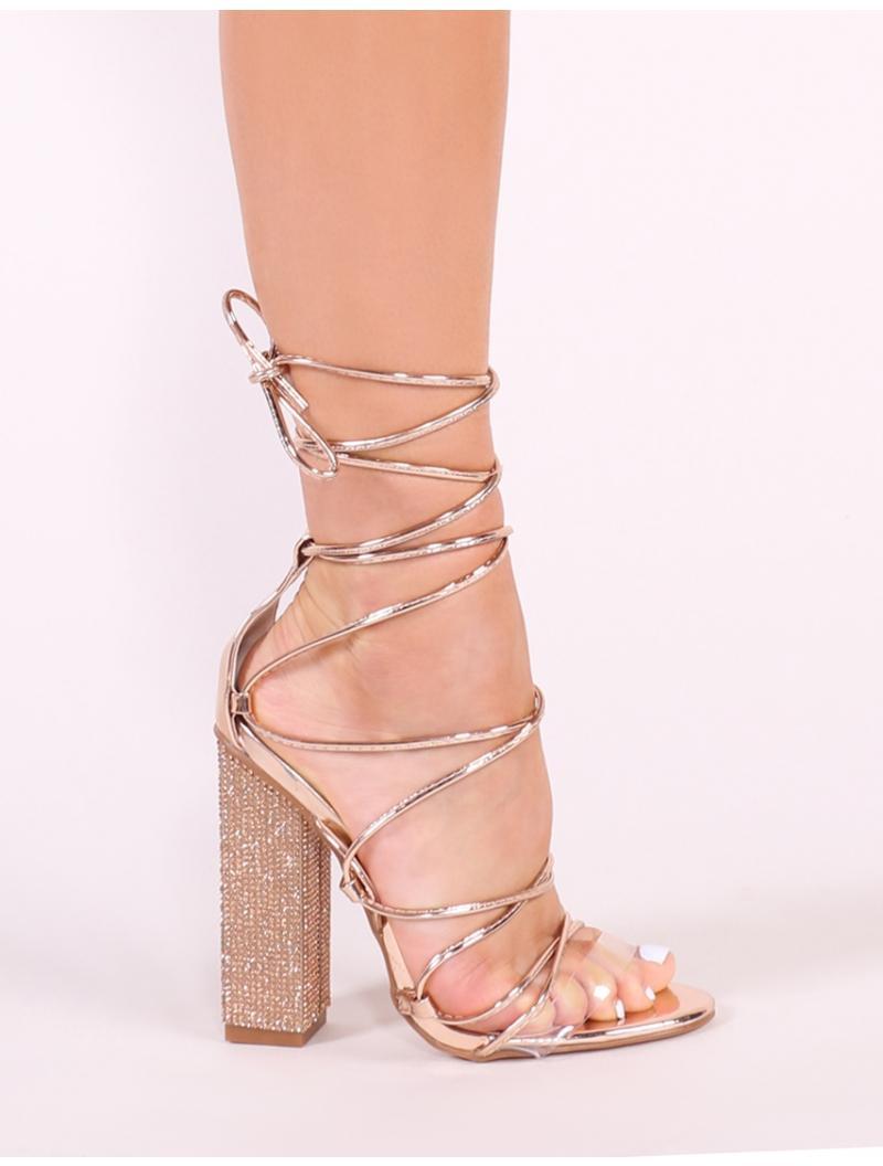 1f5c4ced001 Public Desire Multicolor Sparkle Diamante Lace Up Heels In Rose Gold
