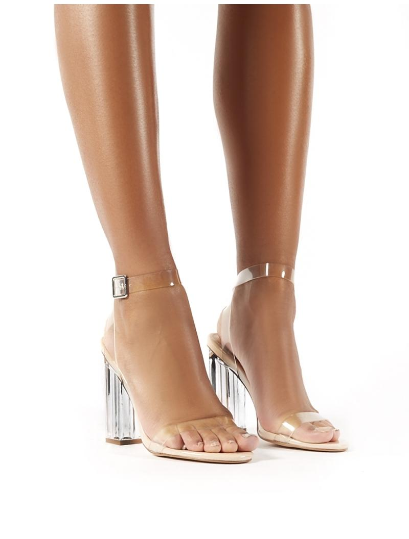 7bb98629039 Women's Alia Strappy Perspex High Heels In Clear Nude