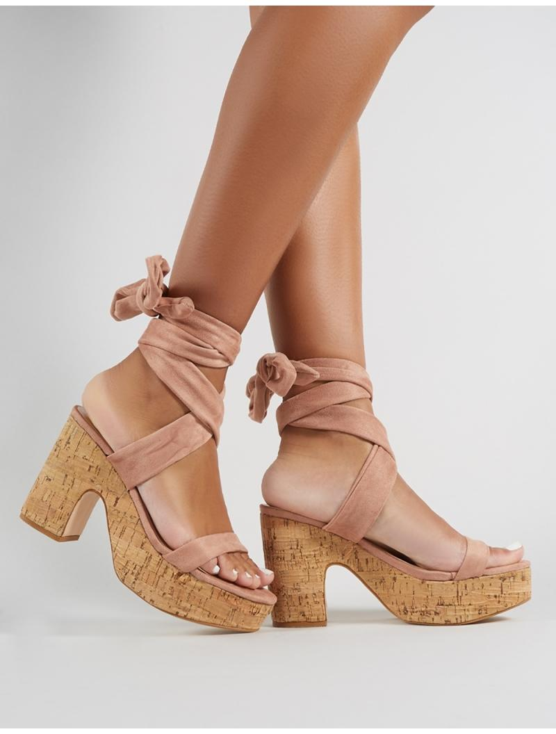 0d076717bb ... Platform Block Heels In Blush Nude Faux Suede - Lyst. View fullscreen