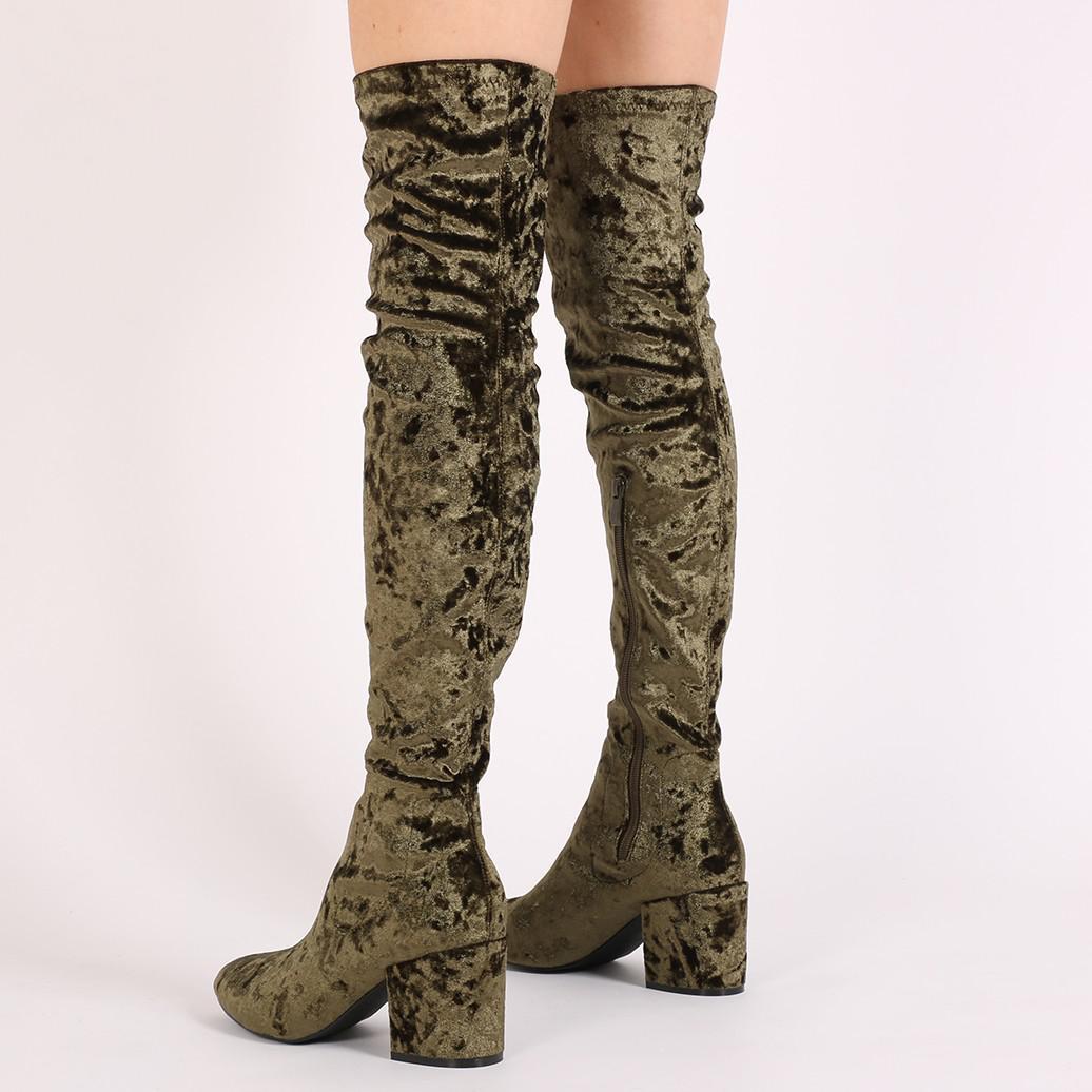 Public Desire Anita Long Boots In Khaki Crushed Velvet in Natural