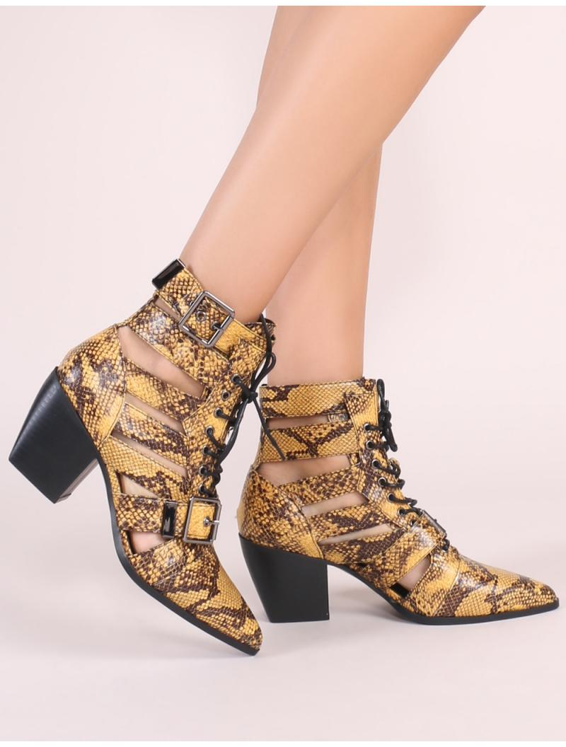 e6e18336b00 Lyst - Public Desire Zara Lace Up Ankle Boots In Yellow Snake Print ...