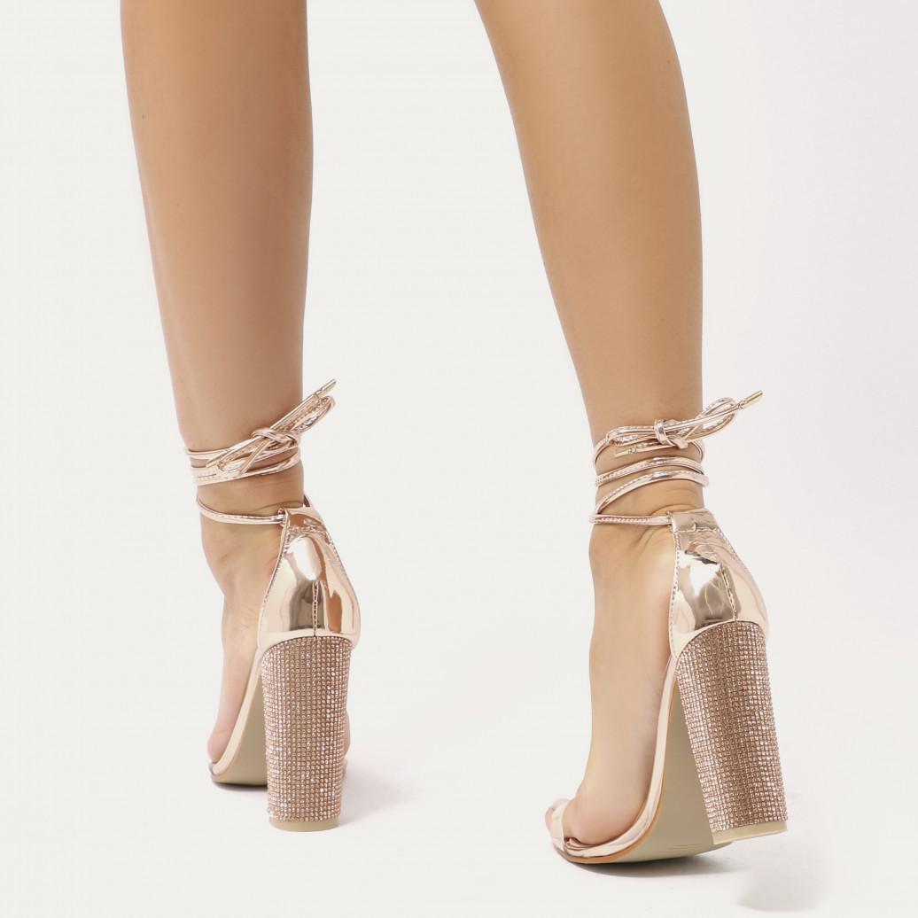 Public Desire Fatale Diamante Clear Perspex Lace Up Heels in Rose