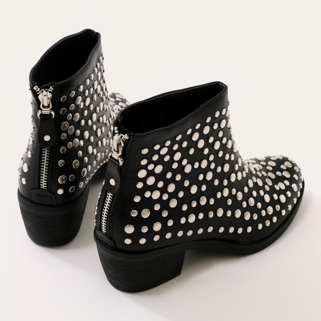 Public Desire Denim Orena Stud Ankle Boots In Black