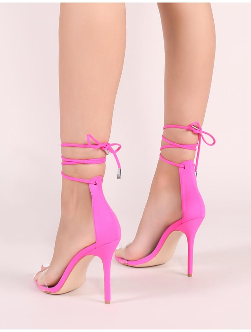 db25eee0b460 Lyst - Public Desire Jorja Lace Up Heels In Neon Pink in Pink