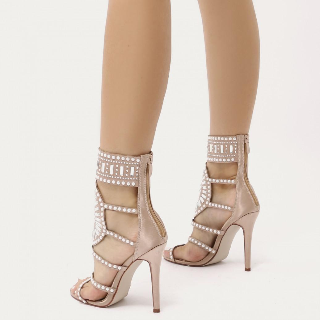 9e31fb069a7 Lyst - Public Desire Cleopatra Embellished Stiletto Heels In Rose ...