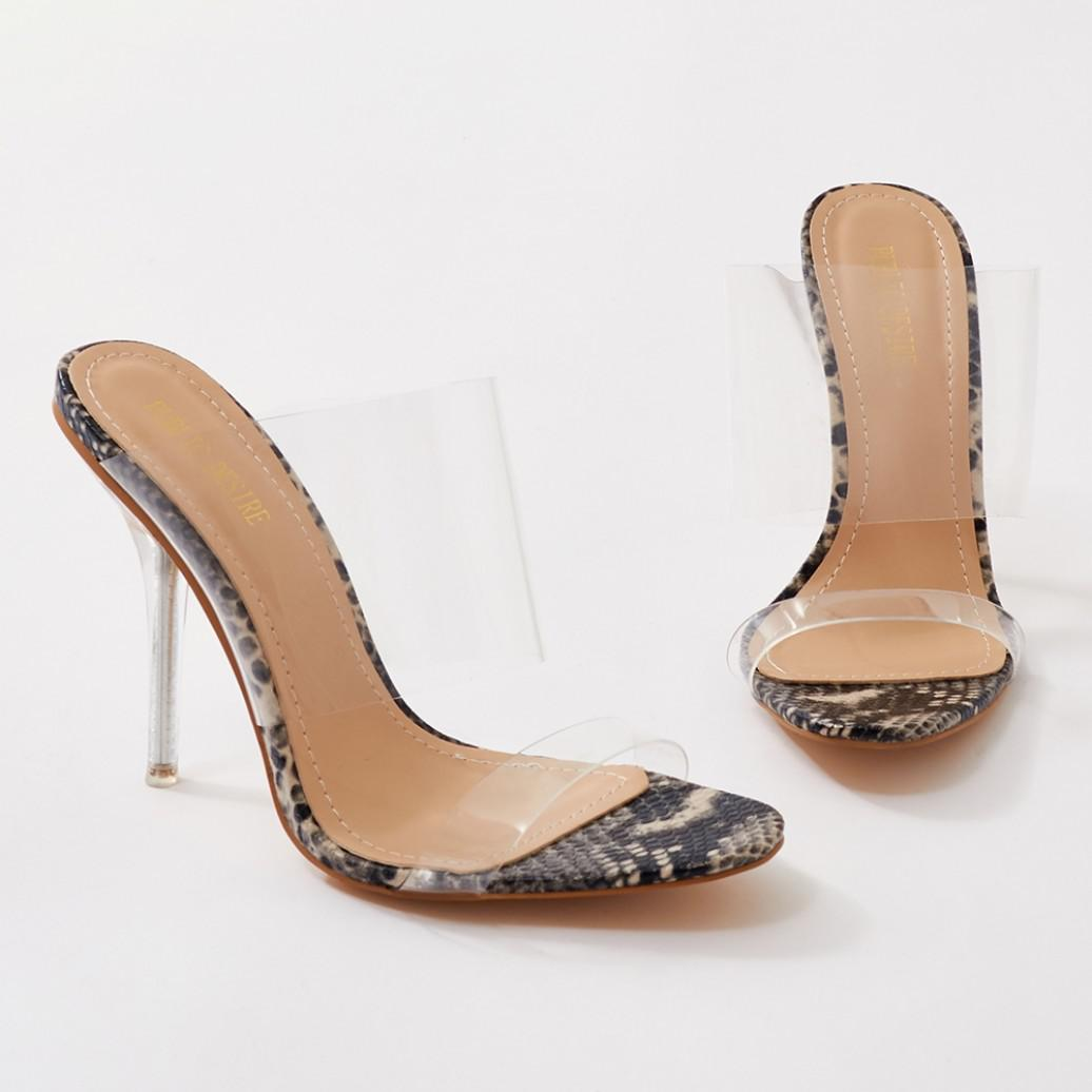 Public Desire Boujee Clear Perspex Heel Mules in Faux Snake FjeUYYz