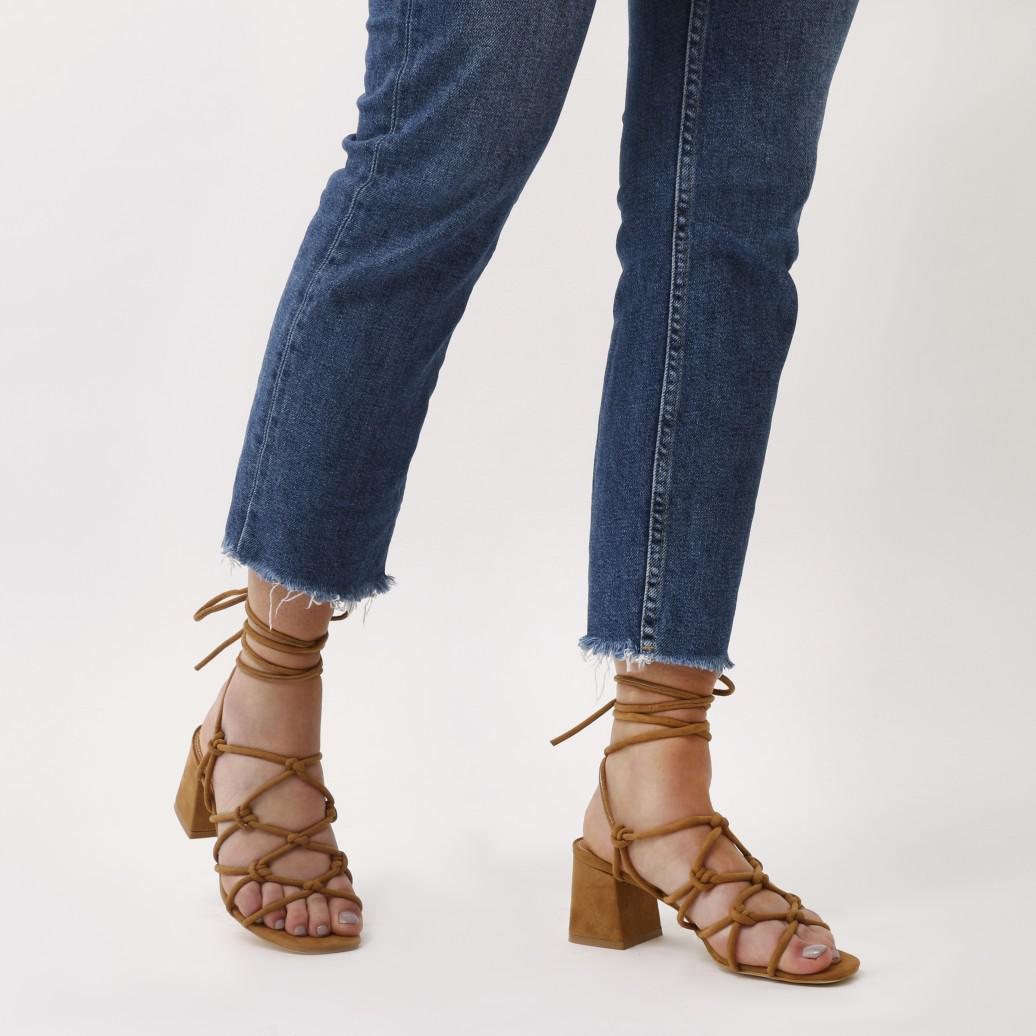 f167c69105d Public Desire Blue Freya Knotted Strappy Block Heeled Sandals In Tan Faux  Suede