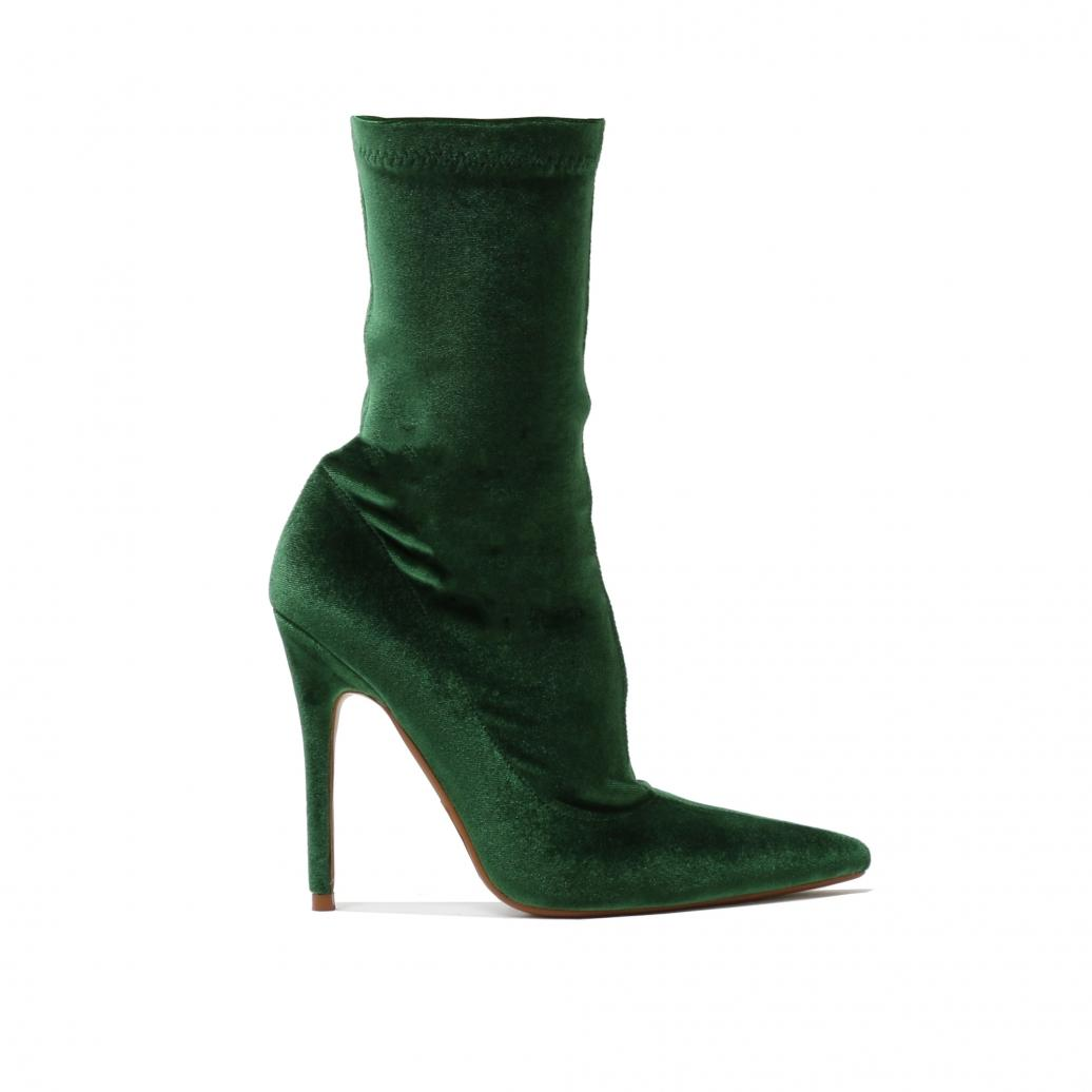 e0bceccad Public Desire Direct Pointy Sock Boots In Green Velvet in Green - Lyst