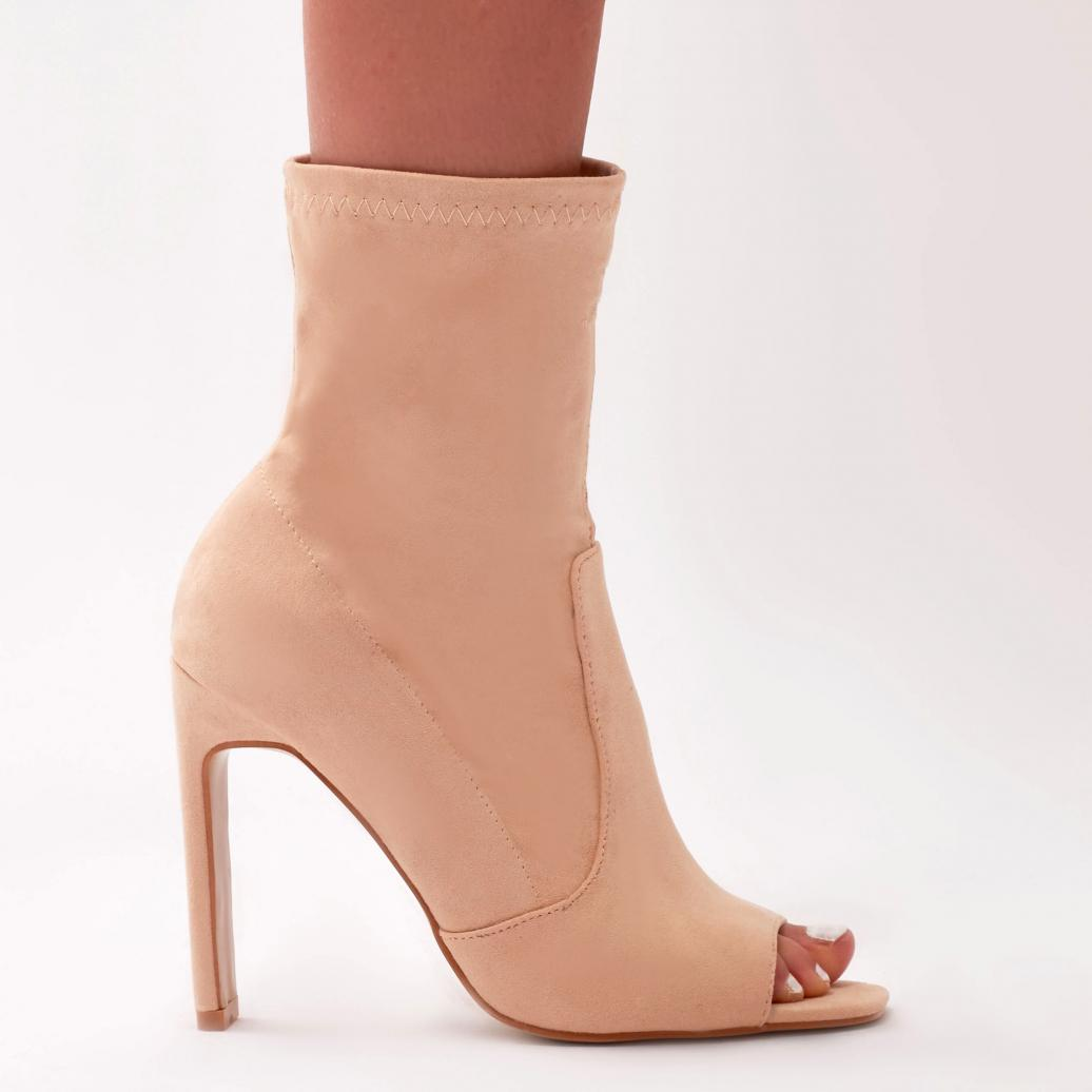 e60a0df40c Public Desire Craze Sock Fit Ankle Boots In Nude Faux Suede in ...