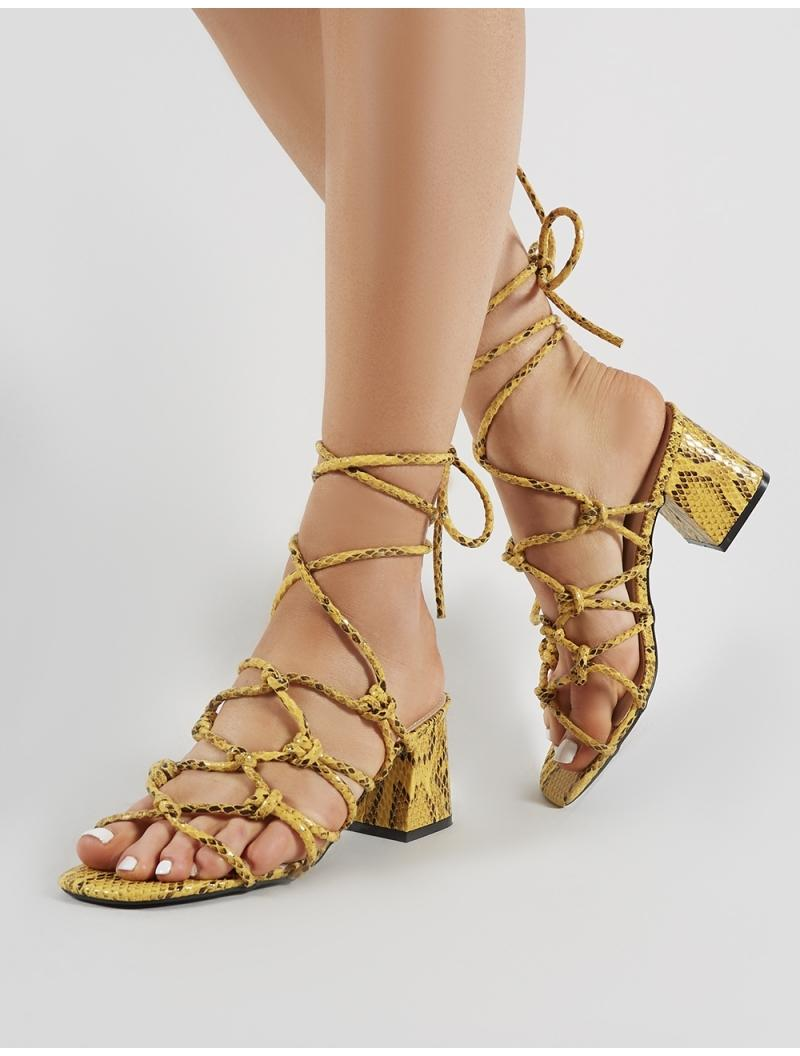30b6a3d0d1f Public Desire Freya Knotted Strappy Block Heeled Sandals In Mustard  Snakeskin - Lyst