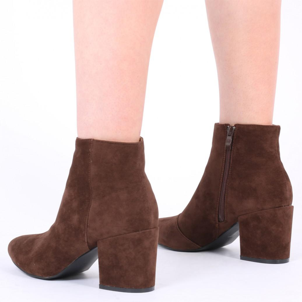 Public Desire Malika Ankle Boots In Brown Faux Suede