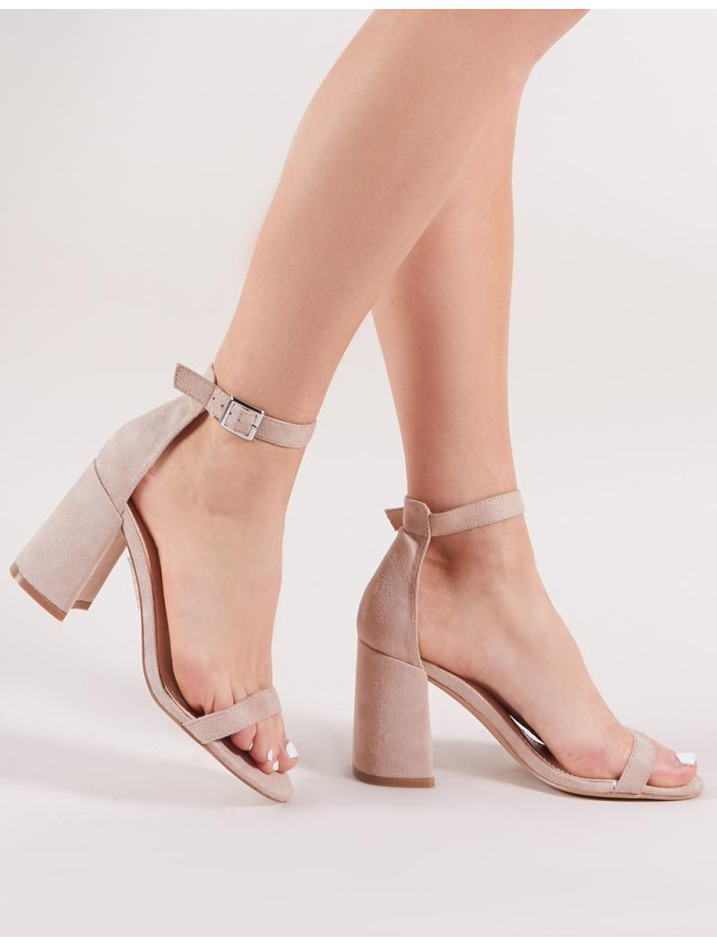 36edc05954b Lyst - Public Desire Grier Block Heel Barely Theres In Nude Faux Suede