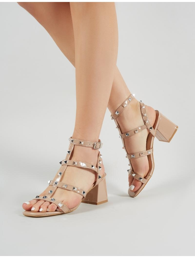 996f1556d5a Lyst - Public Desire Always Studded Strappy Block Heels In Nude Patent in  Natural