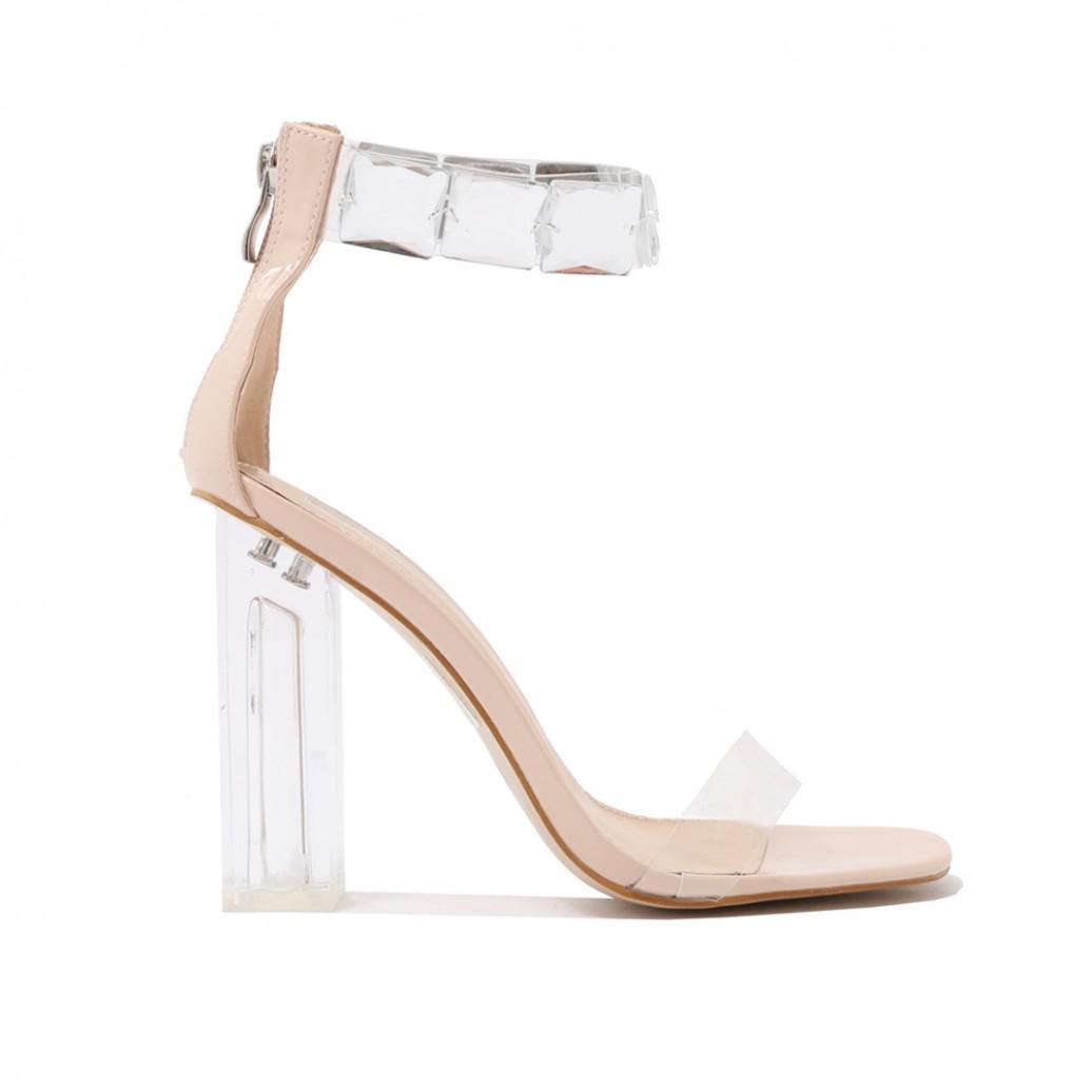 d24977e54f Public Desire Spirit Square Gem Strap Perspex High Heels In Nude ...