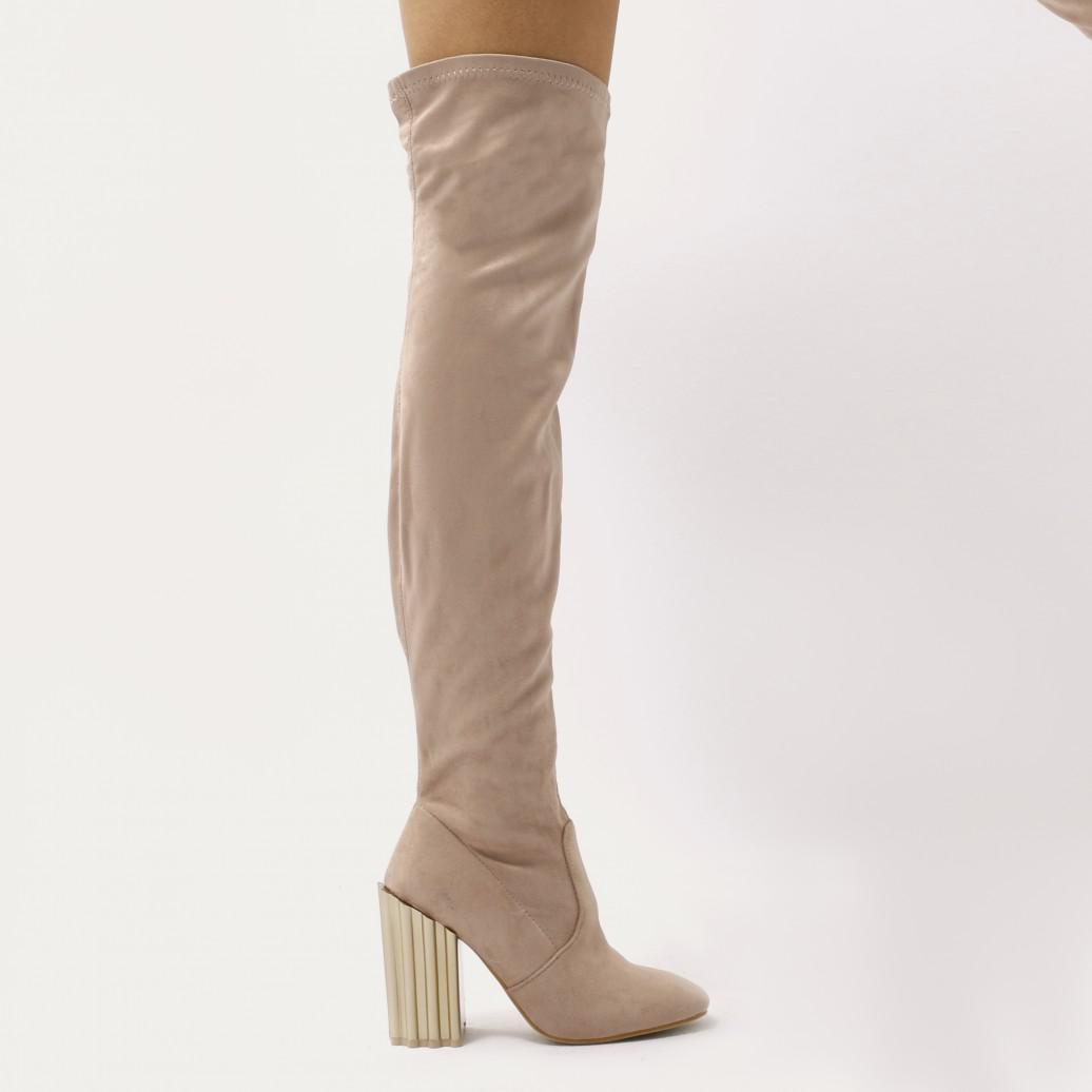 Public Desire Corona Ridged Gold Heel Over The Knee Boots In Nude Faux Suede in Metallic