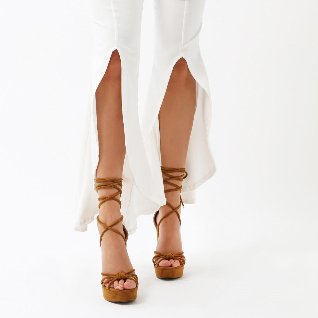 be0be4053b57 Lyst - Public Desire Tassie Knotted Lace Up Platform Heels In Tan ...