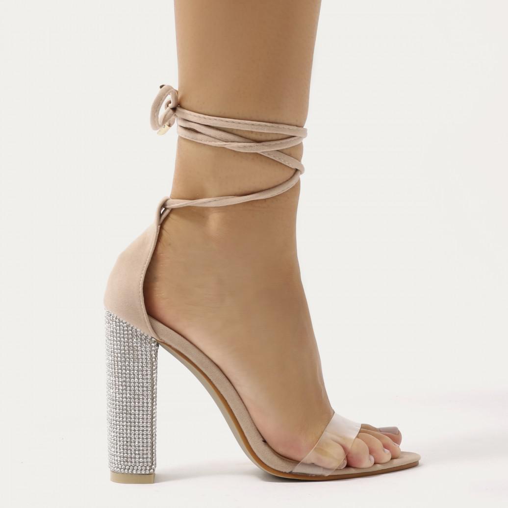 fb4f46074c7 Lyst - Public Desire Fatale Diamante Perspex Lace Up Heels In Nude ...