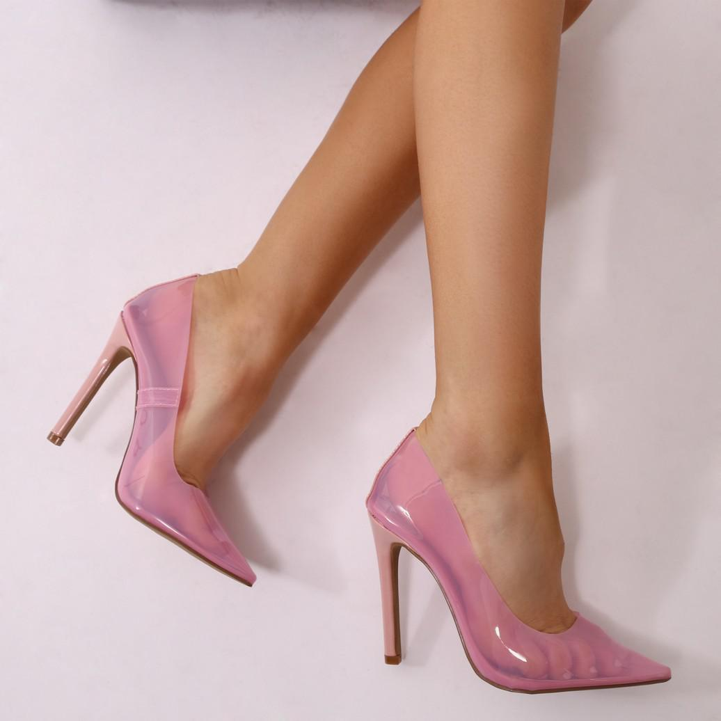 Public Desire Potion Clear Perspex Court Heels in Blush Patent