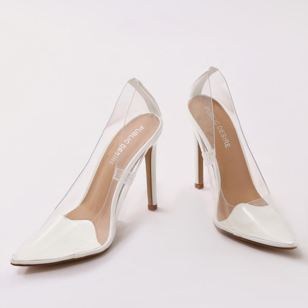 cd3aaee5b67 Lyst - Public Desire Extra Perspex Court Heels In White in White