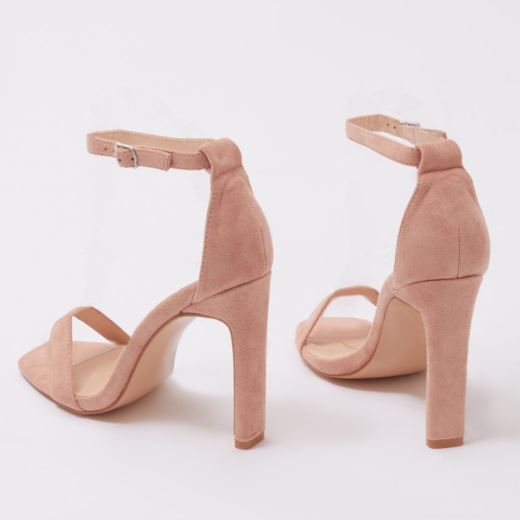 c3bc8d8367e Public Desire. Women s Crown Barely There Flat Block Heels In Pink Faux  Suede