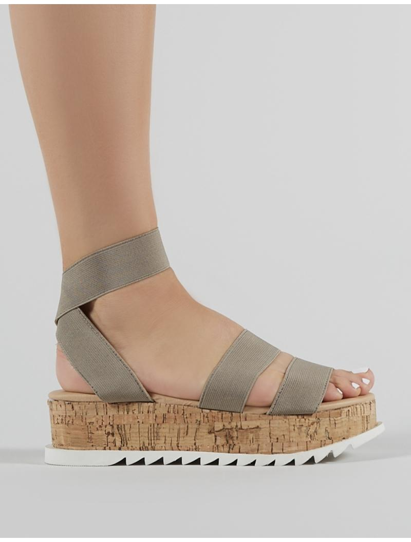 c34df66e0cce ... Cassie Elasticated Strappy Flatform Sandals In Taupe - Lyst. View  fullscreen