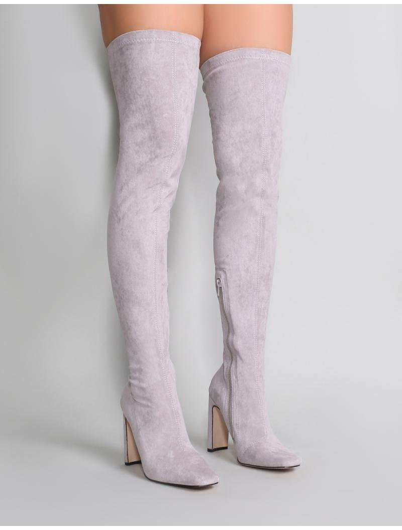 6c0f61b607d Public Desire Pernille Over The Knee Boots In Light Grey in Gray - Lyst
