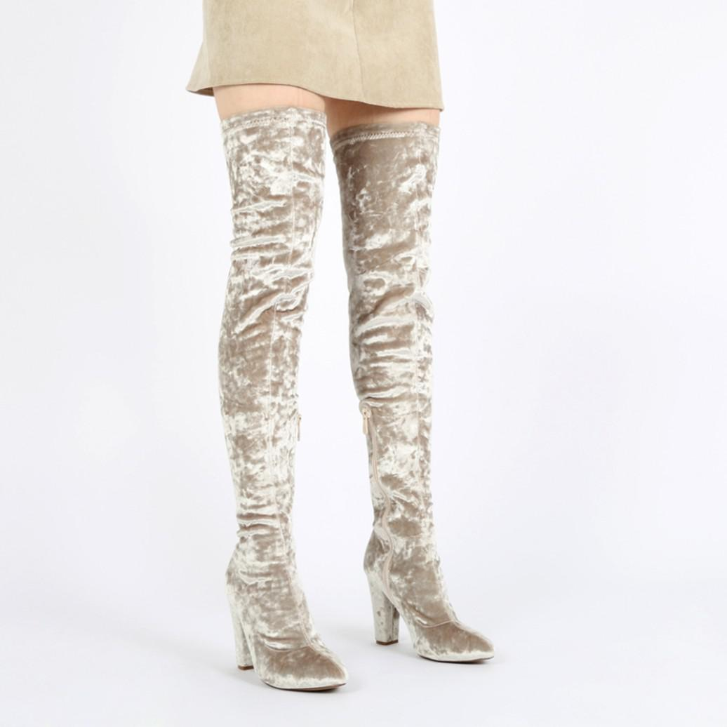 Public Desire Milah Crushed Velvet Long Boots In Cream in Natural