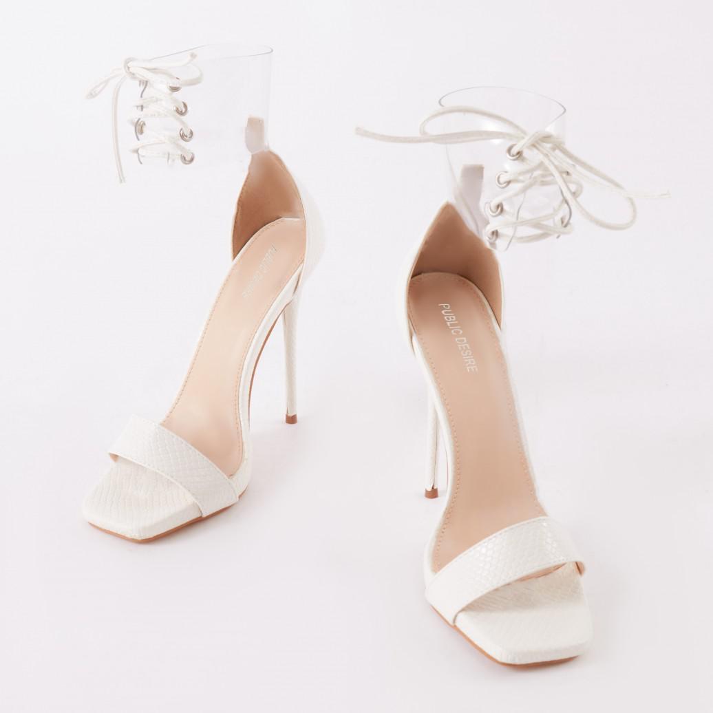 bc5d3c4a377 Public Desire Empress Perspex Cuff Heels In White Patent in White - Lyst