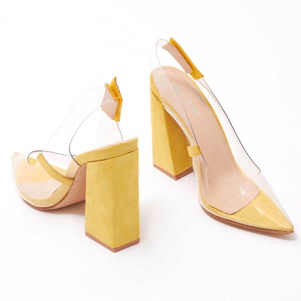 329a4b3bb2b Public Desire Lure Perspex Court Heels In Yellow Faux Suede in ...