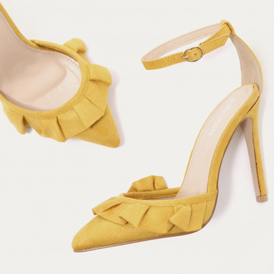 22a8823d2b4 Public Desire Multicolor Habit Ruffle Strappy Court Heels In Mustard Faux  Suede