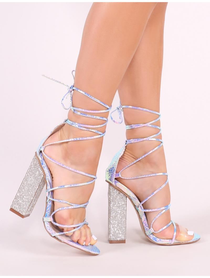 82459f4fc0202 Public Desire Sparkle Diamante Lace Up Heels In Iridescent in Brown ...