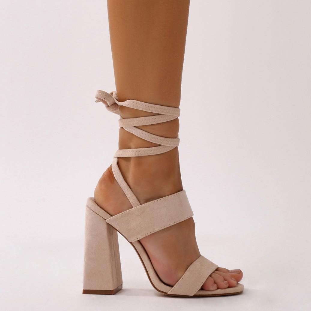 9cf3ad0ff23 Public Desire Natural Bailey Lace Up Block Heels In Nude Faux Suede