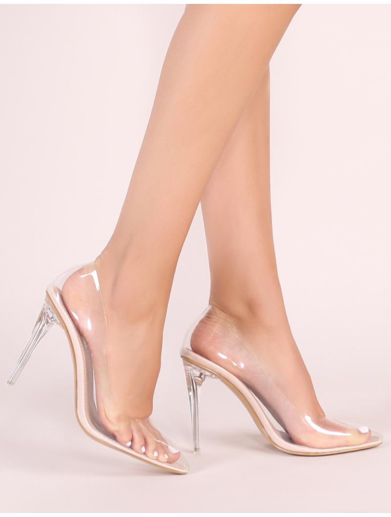8ad397827e9 Lyst - Public Desire Drank Perspex Court Heels In Nude in Natural