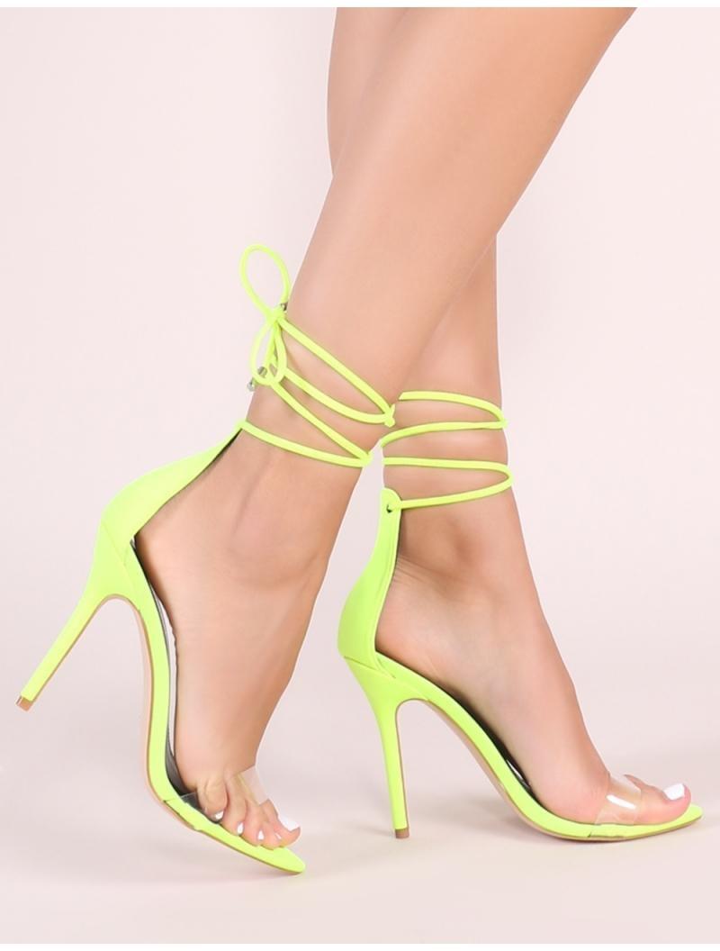 380a60e911f Lyst - Public Desire Jorja Lace Up Heels In Neon Yellow in Yellow