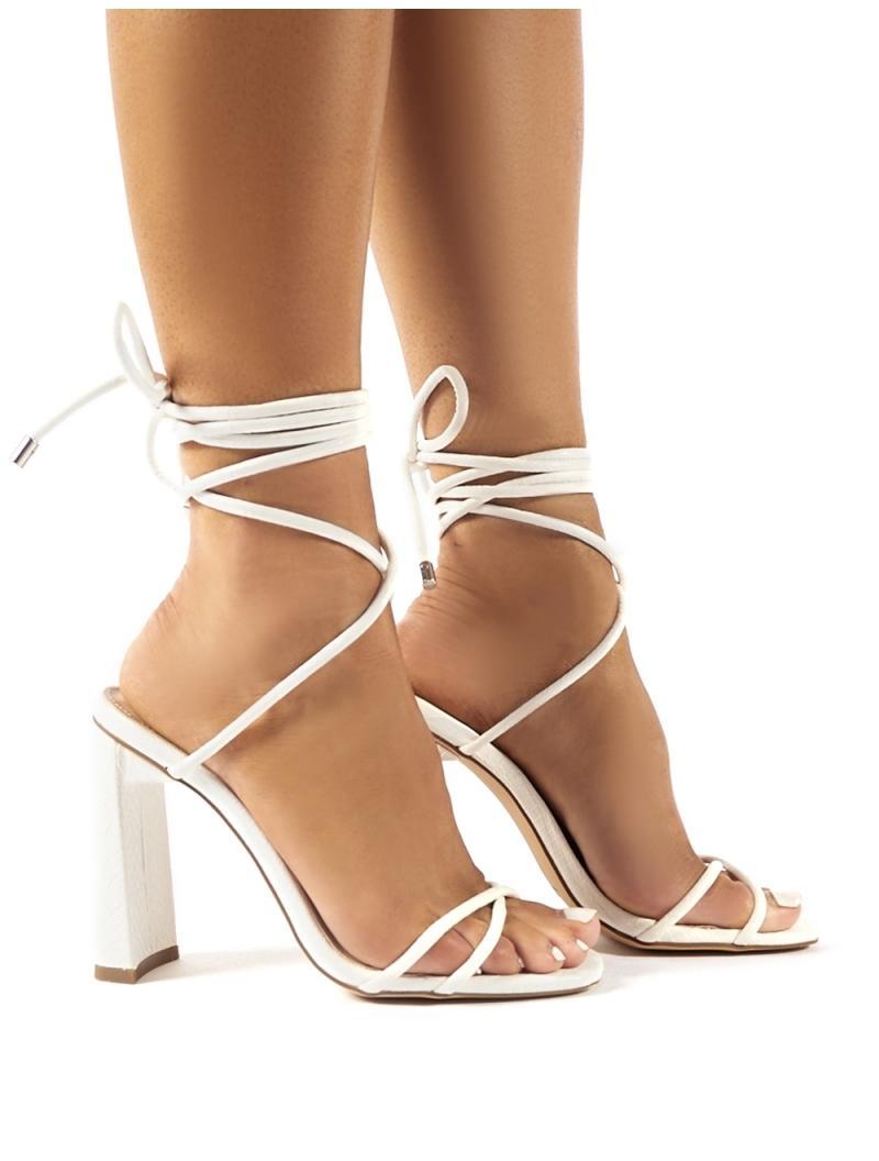 Flirt White Croc Lace Up Heels