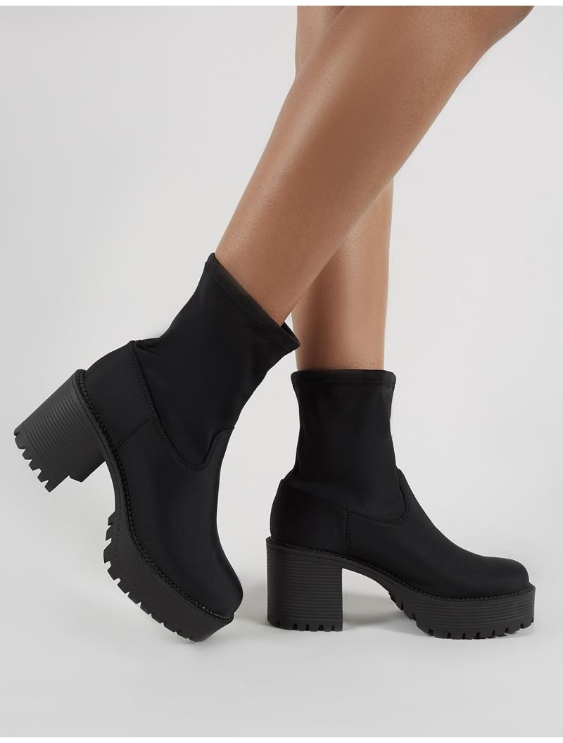 5a9019f65afd Lyst - Public Desire Addison Chunky Ankle Boots In Black Stretch in ...