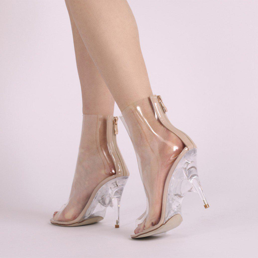 Public Desire Giga Clear Perspex Lace Up Ankle Boots in Blush Patent n4uog