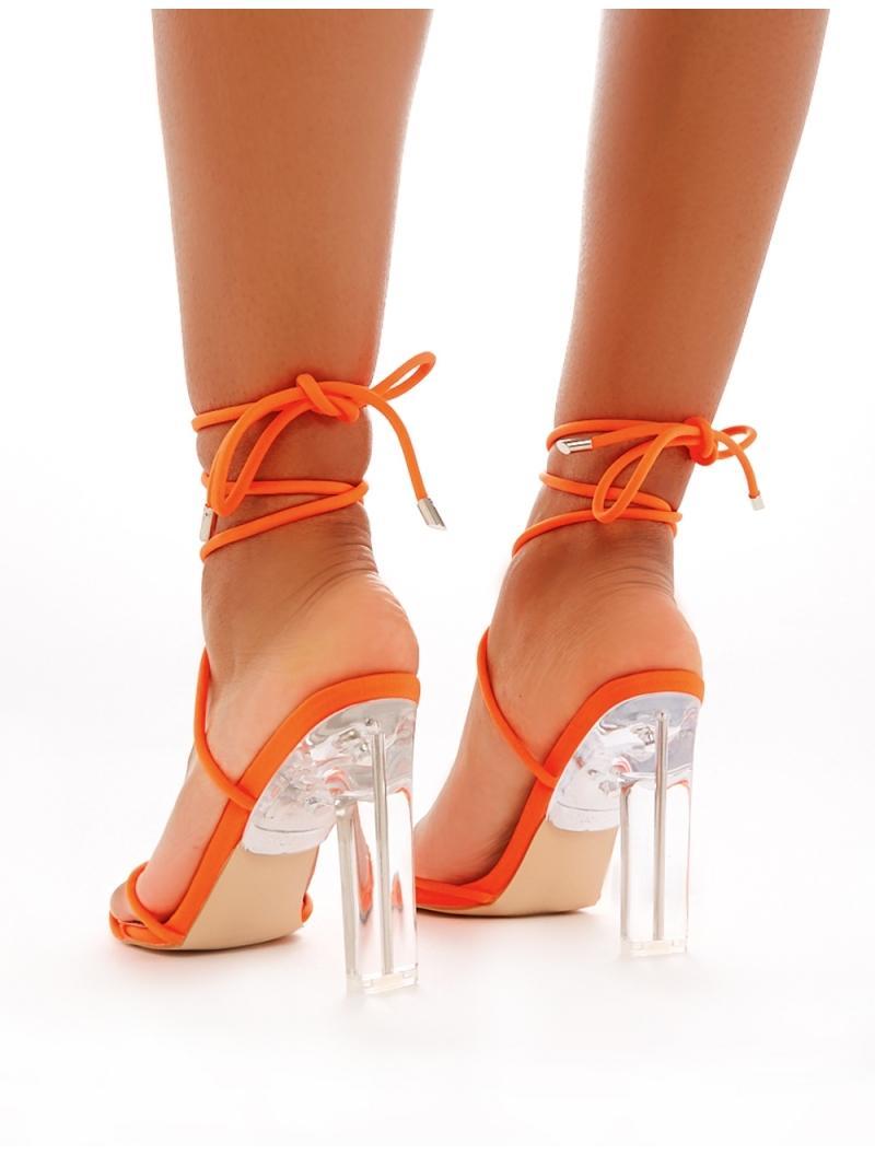 Lace Up Perspex Heels In Neon Orange