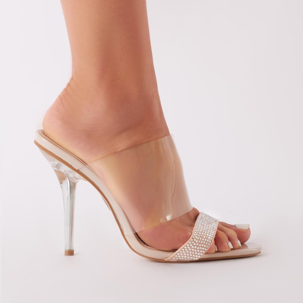9ca003f2848 Public Desire Boo Perspex Mule With Diamante Toe Strap In Nude ...