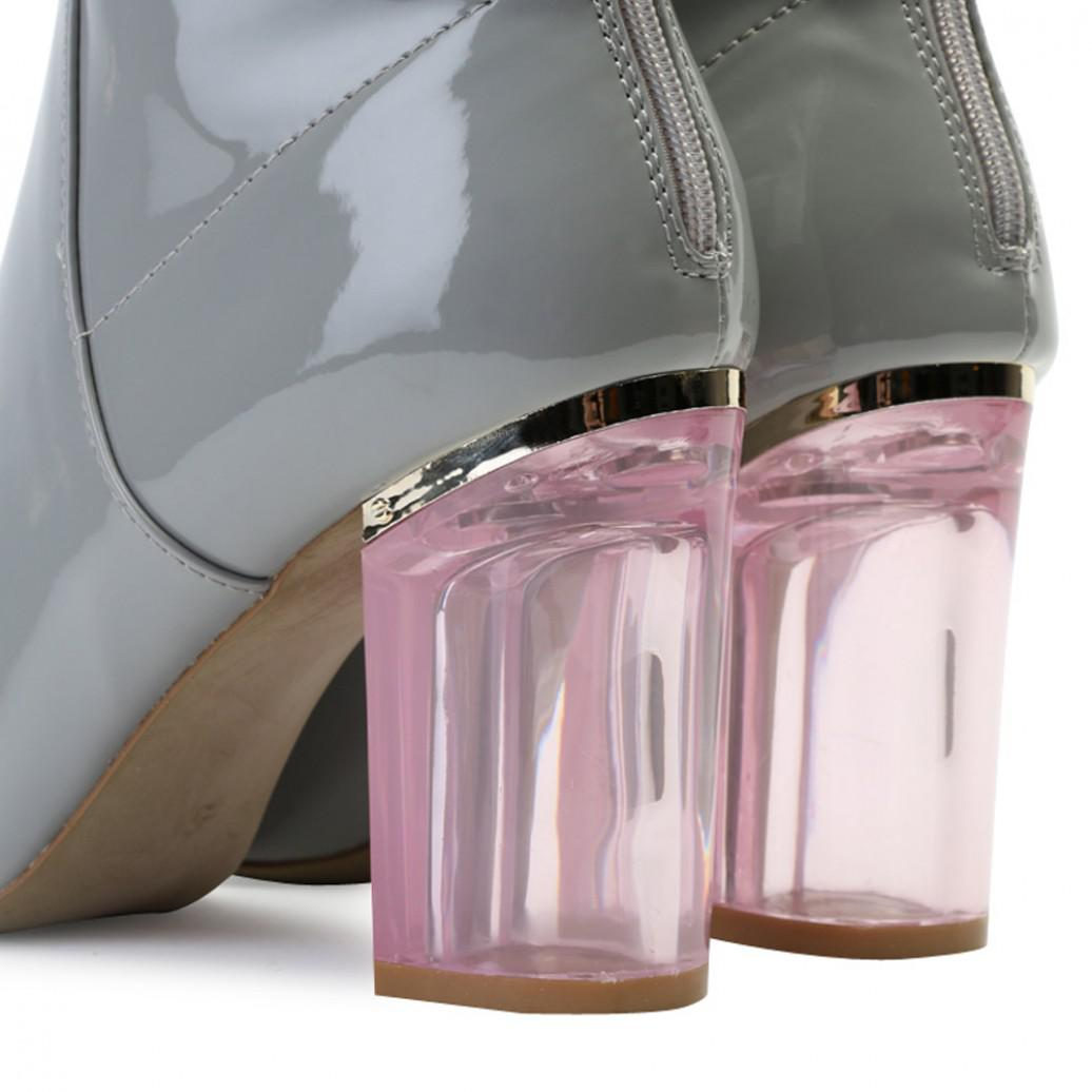 Public Desire Synthetic Chloe Perspex Heeled Ankle Boots In Grey in Grey