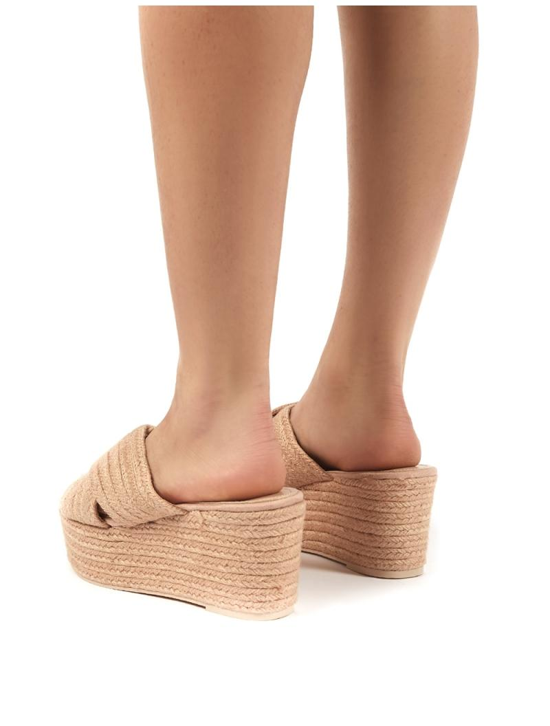 Breeze Nude Cross Over Espadrille Flatform Sandals
