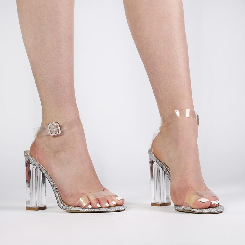 8f907fe1e89 Public Desire Multicolor Alia Strappy Perspex High Heels In Clear Glitter