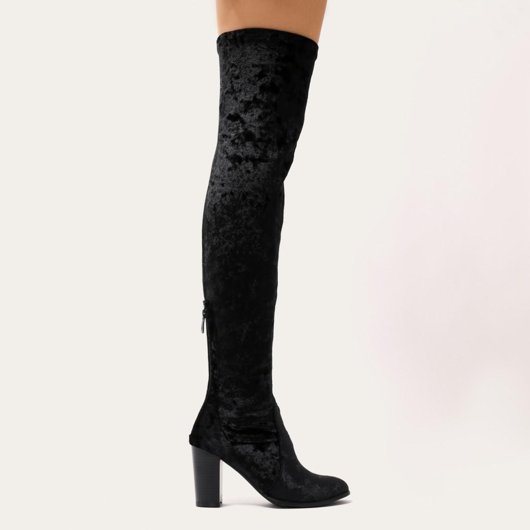 Public Desire Kalena Over The Knee Boots In Black Crushed Velvet