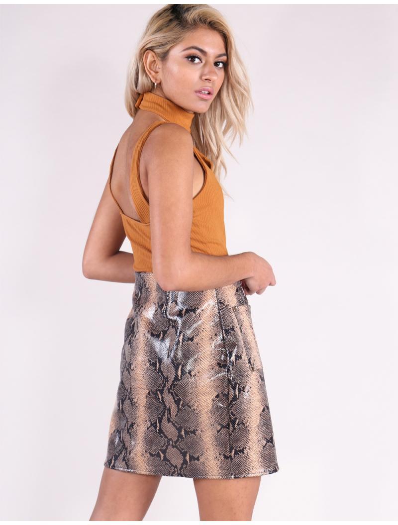 cf7c491a88 Lyst - Public Desire Tan Snake Zip Mini Skirt in Brown