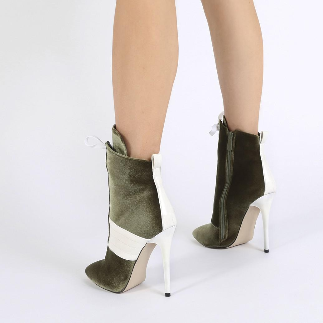 Public Desire Annika Lace Up Sport Stripe Ankle Boots In Khaki Velvet in Natural