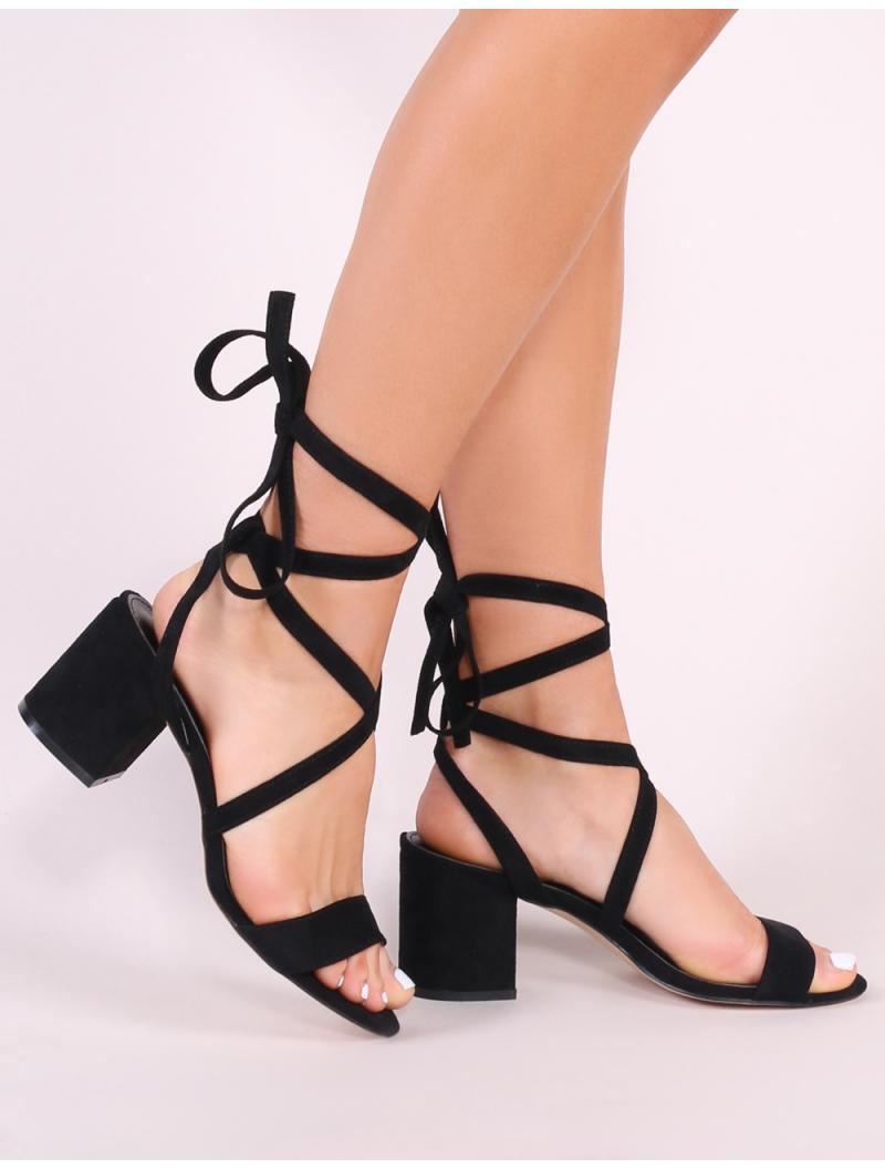 6dc21420638b Lyst - Public Desire Sophie Heeled Sandals In Black Faux Suede in Black