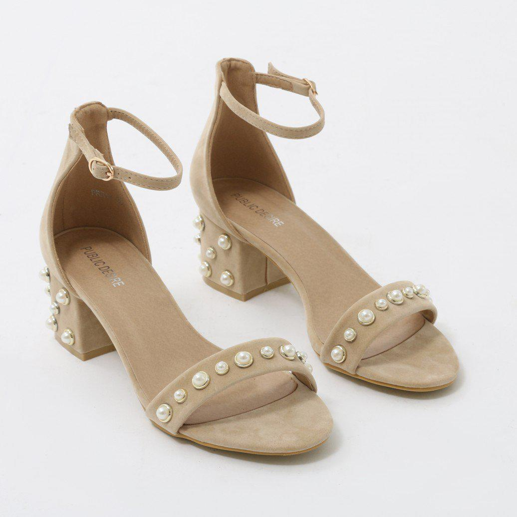 bf7793da5ab Public Desire Natural Bromley Pearl Detail Low Block Heels In Nude Faux  Suede