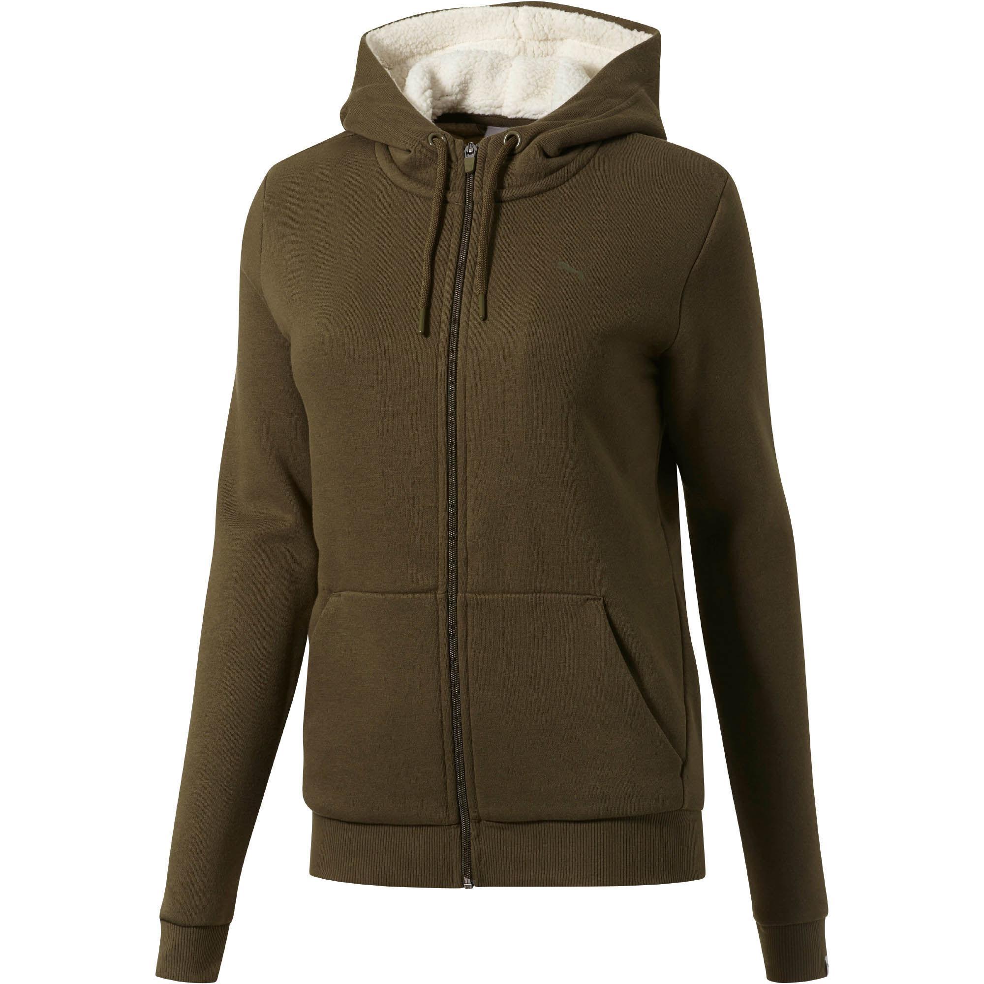 PUMA. Green Women's Collegiate Full Zip Fleece Hoodie