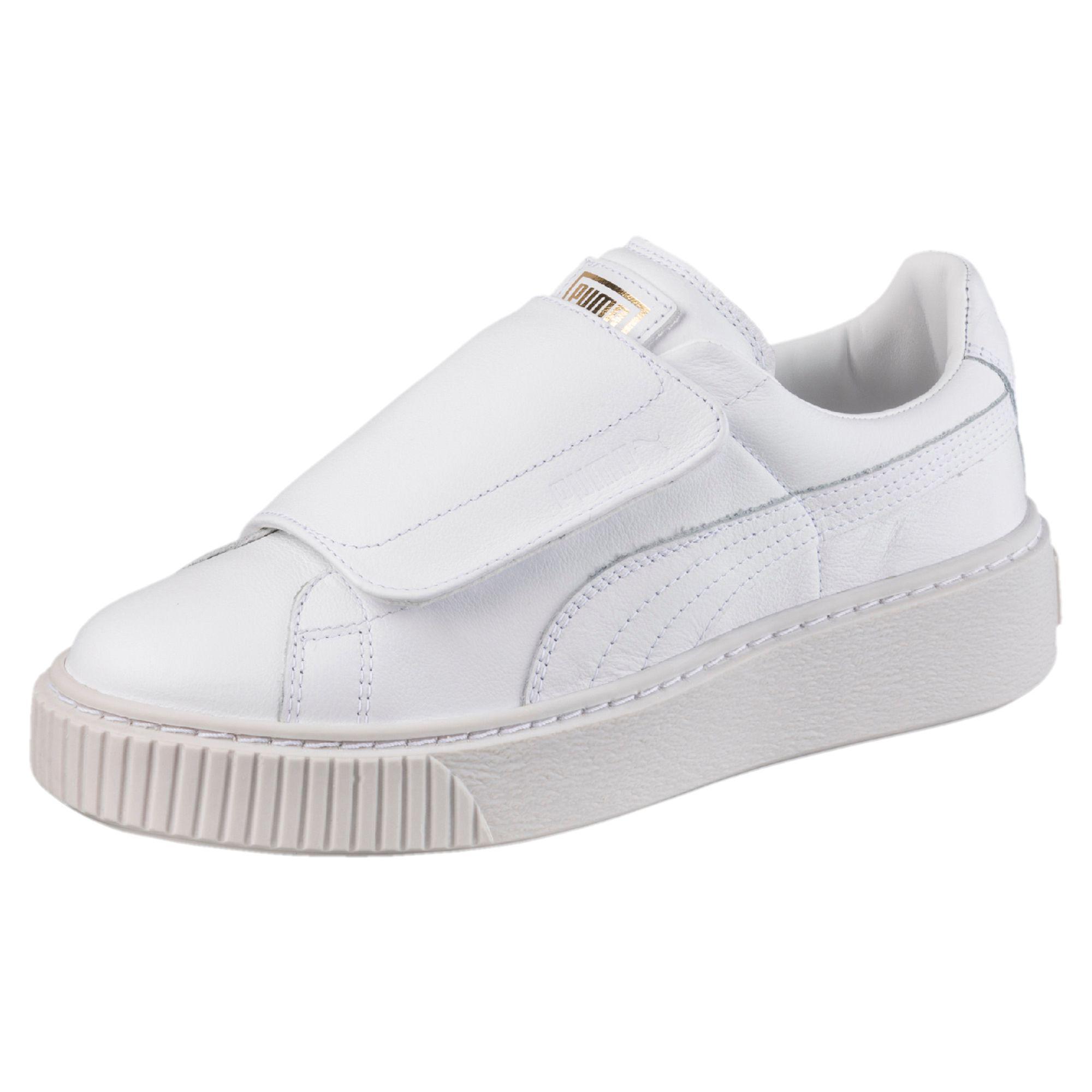 best loved a0d53 f52dc PUMA White Basket Platform Big Strap Women's Sneakers